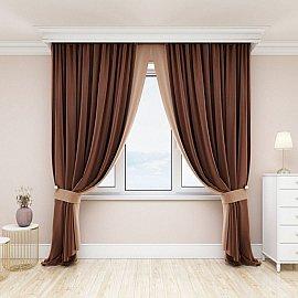 Комплект штор №142, золотисто-коричневый