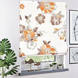Римская штора макси Bremen A рисунок цветы, Оранжевый, ширина 120 см