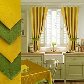 Комплект штор для кухни №050 со скатертью и салфетками, желтый