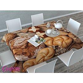 """Скатерть 3D """"Ароматный хлеб"""", коричневая"""