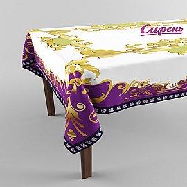 """Скатерть 3D """"Золотая рамка 2"""", фиолетово-золотая"""