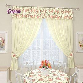 """Комплект штор """"Камелия"""", кремовый, розовый"""