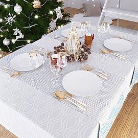 """Дорожка на стол """"Рождественские узоры (Голубой)"""", 40*140 см"""