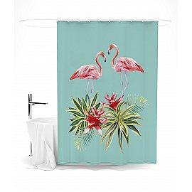 """Штора для ванной """"Фламинго и цветы"""", 145*180 см"""