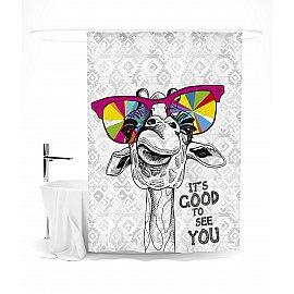 """Штора для ванной """"Веселый жираф"""", 145*180 см"""