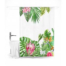 """Штора для ванной """"Акварельные тропические цветы"""", 145*180 см"""