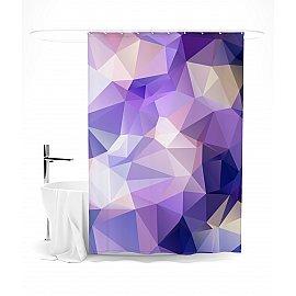 """Штора для ванной """"Фиолетовый полигональный узор"""", 145*180 см"""