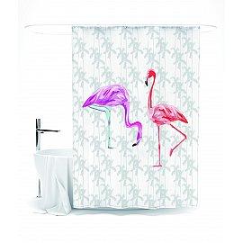"""Штора для ванной """"Парочка розовых фламинго"""", 145*180 см"""