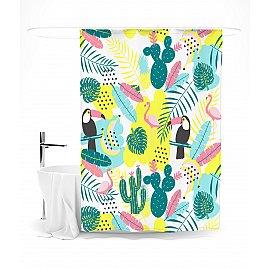 """Штора для ванной """"Кактусы и попугаи"""", 145*180 см"""