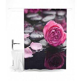 """Штора для ванной """"Роза на черных камнях"""", 145*180 см"""
