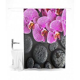 """Штора для ванной """"Орхидея на черных камнях"""", 145*180 см"""