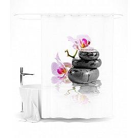 """Штора для ванной """"Камни дзен и орхидея"""", 145*180 см"""