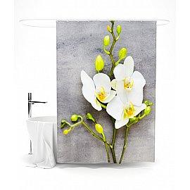 """Штора для ванной """"Орхидея на сером"""", 145*180 см"""