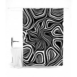 """Штора для ванной """"Черное и белое"""", 145*180 см"""
