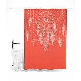 """Штора для ванной """"Ловец снов (Красный)"""", 145*180 см"""