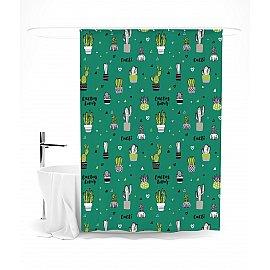 """Штора для ванной """"Цветущие кактусы на зеленом фоне"""", 145*180 см"""
