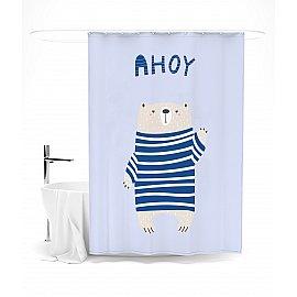 """Штора для ванной """"Медвеженок в полосатом свитере"""", 145*180 см"""