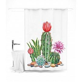 """Штора для ванной """"Любимые кактусы"""", 145*180 см"""
