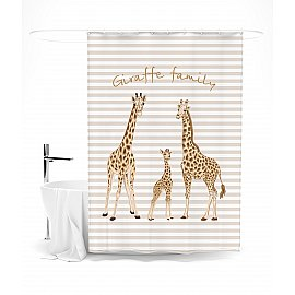 """Штора для ванной """"Милая семья жирафов"""", 145*180 см"""