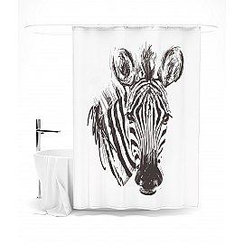 """Штора для ванной """"Голова зебры в технике гравюры"""", 145*180 см"""
