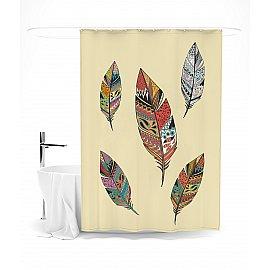 """Штора для ванной """"Цветные перья"""", 145*180 см"""