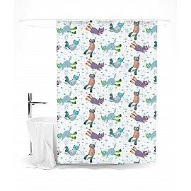 """Штора для ванной """"Водный спорт (на белом фоне)"""", 145*180 см"""