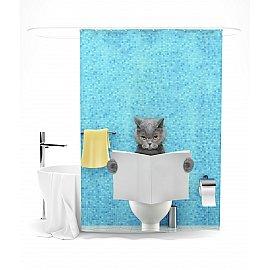 """Штора для ванной """"Кот читает новости"""", 145*180 см"""