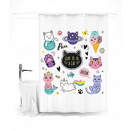 """Штора для ванной """"Кошачья планета"""", 145*180 см"""