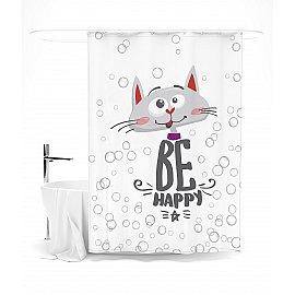 """Штора для ванной """"Счастливый кот"""", 145*180 см"""