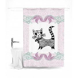 "Штора для ванной ""Полосатая красавица"", 145*180 см"