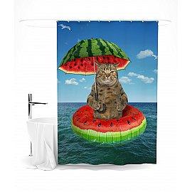 """Штора для ванной """"Невероятные приключения кота"""", 145*180 см"""