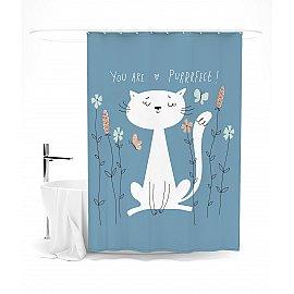 """Штора для ванной """"Мечтательный кот"""", 145*180 см"""