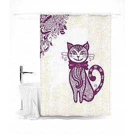 """Штора для ванной """"Ажурный кот"""", 145*180 см"""