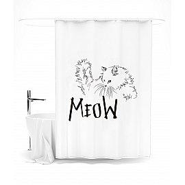 """Штора для ванной """"Белый кот"""", 145*180 см"""