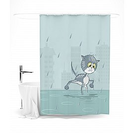 """Штора для ванной """"А я иду, шагаю под дождем"""", 145*180 см"""