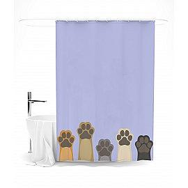 """Штора для ванной """"Эти милые лапки (на фиолетовом)"""", 145*180 см"""