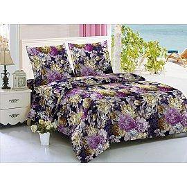КПБ мако-сатин печатный Luxury (Евро), фиолетовый