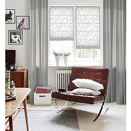 """Римская штора мини """"Lira рисунок цветы"""", белый, ширина 62 см"""