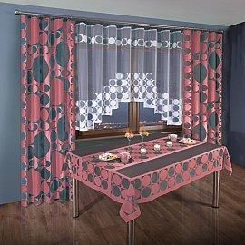 Комплект штор для кухни №3384-02, розовый