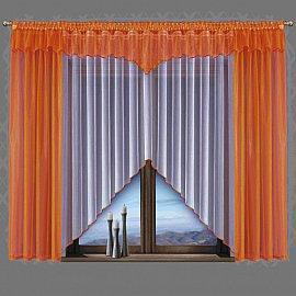 Комплект штор для кухни №5483, оранжевый, белый