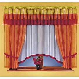Комплект штор для кухни №5761, оранжевый, красный