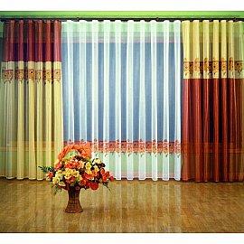 "Комплект штор ""Хризантемы"" №6701, терракотовый, желтый"