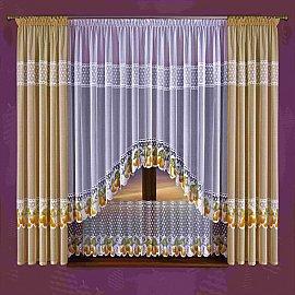 Комплект штор для кухни №050W, кремовый, белый
