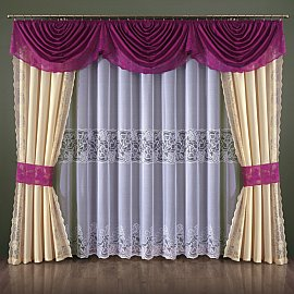 Комплект штор №090W, малиновый, кремовый