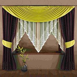 Комплект штор для кухни №175W, салатовый, бордовый