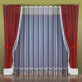Комплект штор №263W, бордовый, белый