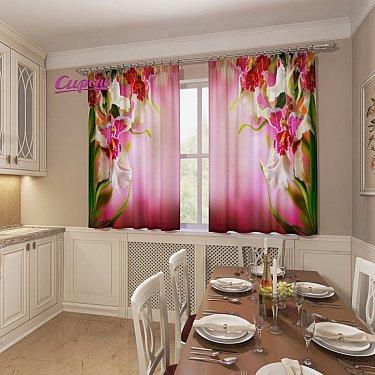 """Фотошторы для кухни """"Бутон орхидеи"""""""