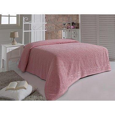 """Простынь махровая """"MODALIN ESRA"""", розовая, 200*220 см"""