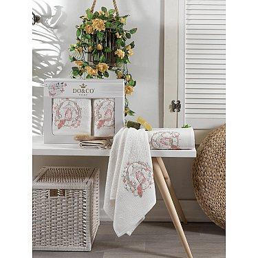 Комплект махровых полотенец с вышивкой DO&CO DALIA (50*90; 70*140), кремовый