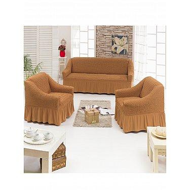 """Набор чехлов для дивана и кресел """"DO&CO"""" 3+1+1, карамельный"""